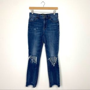 Express | Distressed Dark Wash Raw Ankle Mid/High Rise Jegging Jeans Knee Holes